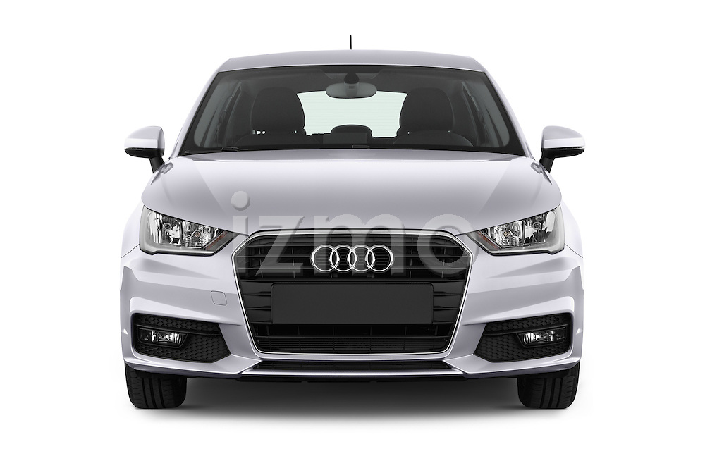 Car photography straight front view of a 2015 Audi A1 Sportback 5 Door Hatchback Front View