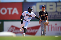 Inland Empire 66ers left fielder Kevin Williams, Jr. (20) during a California League game against the Modesto Nuts on April 10, 2019 at San Manuel Stadium in San Bernardino, California. Inland Empire defeated Modesto 5-4 in 13 innings. (Zachary Lucy/Four Seam Images)