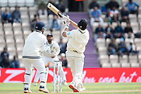 Tim Southee, New Zealand  launches Ravindra Jadeja, India for a hiuge six over mid wicket during India vs New Zealand, ICC World Test Championship Final Cricket at The Hampshire Bowl on 22nd June 2021