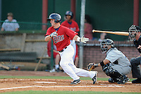 Elizabethton Twins second baseman Nick Lockwood #7 at bat during a game against the Bluefield Blue Jays at Joe O'Brien Field on June 21, 2011 in Elizabethton, Tennessee.  The game was delayed with the score 5-5.  (Tony Farlow/Four Seam Images)