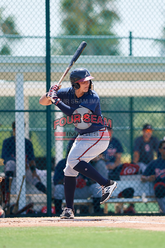 GCL Braves catcher Abrahan Gutierrez (4) at bat during a game against the GCL Pirates on July 26, 2017 at Pirate City in Bradenton, Florida.  GCL Braves defeated the GCL Pirates 12-5.  (Mike Janes/Four Seam Images)