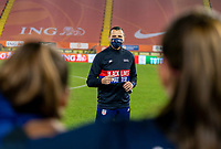 BREDA, NETHERLANDS - NOVEMBER 27: Vlatko Andonovski of the USWNT talks to his team after a game between Netherlands and USWNT at Rat Verlegh Stadion on November 27, 2020 in Breda, Netherlands.