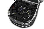Car stock 2018 Maserati Quattroporte S 2WD 4 Door Sedan engine high angle detail view