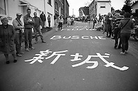 Japanese fans of Arashiro Yukiya (JAP/Europcar) were at work up the Côte de Saint-Roche apparently<br /> <br /> Liège-Bastogne-Liège 2014