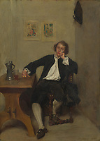 Full title: A Man in Black smoking a Pipe<br /> Artist: Jean-Louis-Ernest Meissonier<br /> Date made: 1854<br /> Source: http://www.nationalgalleryimages.co.uk/<br /> Contact: picture.library@nationalgallery.co.uk<br /> <br /> Copyright © The National Gallery, London