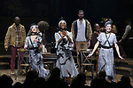 Kay Trinidad, Jewell Blackman and Yvette Gonzalez-Nacer during Broadway Opening Night Performance Curtain Call for 'Hadestown' at the Walter Kerr Theatre on April 17, 2019 in New York City.