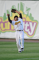 Burlington Bees Michael Hermosillo (4) catches a fly ball during the Midwest League game against the Peoria Chiefs at Community Field on June 9, 2016 in Burlington, Iowa.  Peoria won 6-4.  (Dennis Hubbard/Four Seam Images)