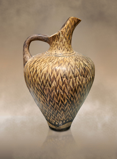 """Minoan  ewer with dense reeds design, by the """"Reed Painter"""" , Phaistos Palace 1500-1450 BC; Heraklion Archaeological  Museum."""