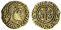BNPS.co.uk (01202) 558833. <br /> Pic: Spink&Son/BNPS<br /> <br /> Pictured: This Post-Crondall Types (c. 655-675), Pale Gold Shilling 'Crispus' type sold for £13,200. <br /> <br /> A finance director's remarkable collection of historic Anglo-Saxon coins has sold for a staggering £856,000.<br /> <br /> Tony Abramson, president of the Yorkshire Numismatic Society, started collecting aged four in the 1950s.<br /> <br /> His passion developed during his teenage years and he went to great lengths to bolster his collection in the decades that followed until it reached 1,200 coins.