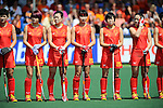 The Hague, Netherlands, June 01: Team of China line up prior to the match during the field hockey group match (Women - Group B) between Germany and China on June 1, 2014 during the World Cup 2014 at GreenFields Stadium in The Hague, Netherlands. Final score 1:1 (0:0) (Photo by Dirk Markgraf / www.265-images.com) *** Local caption ***