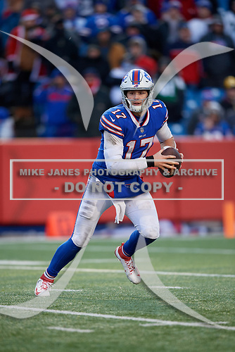 Buffalo Bills quarterback Josh Allen (17) scrambles during an NFL football game against the New York Jets, Sunday, December 9, 2018, in Orchard Park, N.Y.  (Mike Janes Photography)