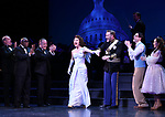 """Brad Oscar, Stanley Wayne Mathis, Adam Heller, Carmen Cusack, Ben Davis, Jason Gotay and Lauren Worsham during the Curtain Call for the closing Night performance of  Encores! """"Call Me Madam"""" at City Center on February 10, 2019 in New York City."""