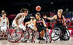 Rosalie Lalonde, Kathleen Dandeneau, Tokyo 2020 - Wheelchair Basketball // Basketball en fauteuil roulant. <br /> Canada takes on Great Britain in the preliminary round // Le Canada affronte la Grande-Bretagne au tour préliminaire. 25/08/2021.