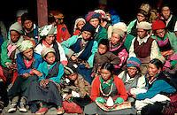 .Sherpa women and girls in the audience at the Mane Rimdu festival, Thyangboche Monastery, Khumbu region, Nepal...