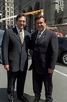 Martin Cauchon et Denis Coderre aux Funerailles de Jean Drapeau, le 13 aout 1999<br /> a la Basilique Notre-Dame.<br /> <br /> PHOTO :  Agence Quebec Presse