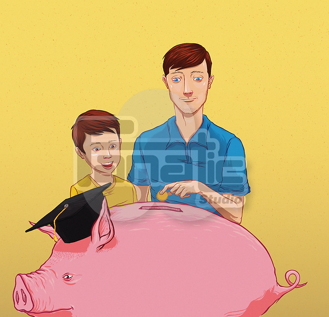 Illustrative image of father with son inserting money in piggy bank representing savings for education