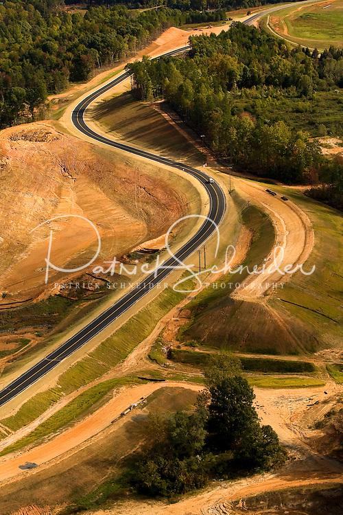 Aerial photo of a new road built near Charlotte Douglas International Airport, taken October 2008.