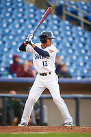 Lake County Captains shortstop Yu-Cheng Chang (13) at bat during a game against the Fort Wayne TinCaps on May 20, 2015 at Classic Park in Eastlake, Ohio.  Lake County defeated Fort Wayne 4-3.  (Mike Janes/Four Seam Images)