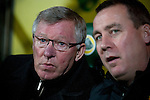 Norwich City 1 Manchester United 0, 17/11/2012. Carrow Road, Premier League. Manchester United manager Sir Alex Ferguson is seated in the dugout at Carrow Road stadium, home of Norwich City shortly before kick-off in a Barclays Premier League fixture. The home team won the match by one goal to nil watched by a crowd of 26,840. It was Norwich City's first victory against Manchester United since 2005. Photo by Colin McPherson.