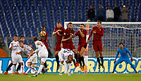From left, Roma's Gerson, Edin Dzeko, Daniele De Rossi, Kevin Strootman and Lorenzo Pellegrini face an attempt by Bologna's  Simone Verd, left, n.9, on a free kick, during the Serie A football match between Roma and Bologna at Rome's Olympic stadium, October 28, 2017.<br /> UPDATE IMAGES PRESS/Riccardo De Luca