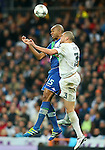 Real Madrid's Pepe (r) and WfL Wolfsburg's Naldo during Champions League 2015/2016 Quarter-finals 2nd leg match. April 12,2016. (ALTERPHOTOS/Acero)