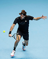 19th November 2020; O2, London;  StefanTsitsipas of Greece returns during the singles group match against Rafael Nadal of Spain at the ATP, Tennis World Tour Finals 2020 in London