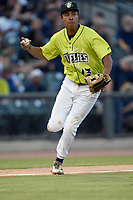 Third baseman Mark Vientos (13) of the Columbia Fireflies prepares to throw out a runner in a game against the Augusta GreenJackets on Friday, May 31, 2019, at Segra Park in Columbia, South Carolina. Augusta won, 8-6. (Tom Priddy/Four Seam Images)