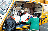 Paramedic ambulance crew with police air ambulance helicopter attending to a casualty. They have just loaded  him into the helicopter...© SHOUT. THIS PICTURE MUST ONLY BE USED TO ILLUSTRATE THE EMERGENCY SERVICES IN A POSITIVE MANNER. CONTACT JOHN CALLAN. Exact date unknown.john@shoutpictures.com.www.shoutpictures.com...