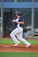 GCL Rays Ryan Fineman (34) bats during a Gulf Coast League game against the GCL Pirates on August 7, 2019 at Charlotte Sports Park in Port Charlotte, Florida.  GCL Rays defeated the GCL Pirates 5-3 in the second game of a doubleheader.  (Mike Janes/Four Seam Images)