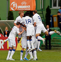 Blair Turgott (C) Hallam Hope (R) and Samuel Magri (L) of England celebrate first score on match with Bradley Smith during the UEFA U-17 championship Group A match between England and Serbia on May 9, 2011 in Indjija, Serbia (Photo by Srdjan Stevanovic/Starsportphoto.com)