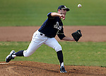 UC Davis' Max Cordy pitches against the Washington Huskies in a college baseball game in Davis, Ca., on Saturday, Feb. 16, 2013. Davis won the opener 6-5 and dropped the second game 3-2..Photo by Cathleen Allison