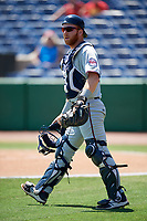Fort Myers Miracle catcher Taylor Grzelakowski (22) during a game against the Clearwater Threshers on April 25, 2018 at Spectrum Field in Clearwater, Florida.  Clearwater defeated Fort Myers 9-5.  (Mike Janes/Four Seam Images)