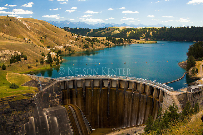 Kerr Dam and Flathead River near Polson, Montana