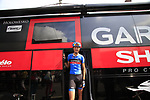 Johan Van Summeren (BEL) Garmin-Sharp emerges from the team bus before the start of Stage 3 of the 99th edition of the Tour de France 2012, running 197km from Orchies to Boulogne-sur-Mere, France. 3rd July 2012.<br /> (Photo by Eoin Clarke/NEWSFILE)
