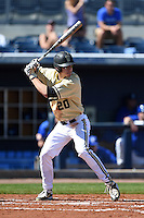 Vanderbilt Commodores outfielder Bryan Reynolds (20) at bat during a game against the Indiana State Sycamores on February 21, 2015 at Charlotte Sports Park in Port Charlotte, Florida.  Indiana State defeated Vanderbilt 8-1.  (Mike Janes/Four Seam Images)