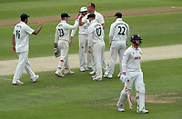 Luke Fletcher of Nottinghamshire celebrates taking the wicket of Simon Harmer during Essex CCC vs Nottinghamshire CCC, LV Insurance County Championship Group 1 Cricket at The Cloudfm County Ground on 6th June 2021