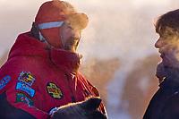 Race veterinarian at the Yukon Quest sled dog race start in Fairbanks, Alaska. Minus 40 degrees.