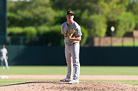 Mesa Solar Sox relief pitcher Jake Bray (15), of the Oakland Athletics organization, looks in for the sign during an Arizona Fall League game against the Glendale Desert Dogs at Camelback Ranch on October 15, 2018 in Glendale, Arizona. Mesa defeated Glendale 8-0. (Zachary Lucy/Four Seam Images)