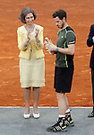 Andy Murray, Great Britain celebrates the victory in the Madrid Open Tennis 2015 in presence of Queen Sofia of Spain. May, 10, 2015.(ALTERPHOTOS/Acero)