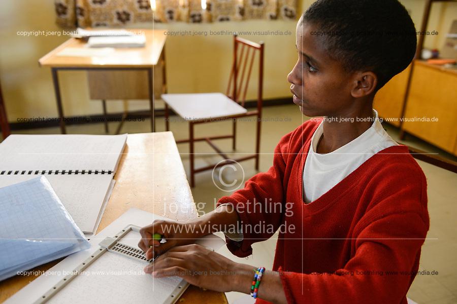 ETHIOPIA, Amhara, Gondar, school for blind children, writing braille letters / AETHIOPIEN, Amhara, Gonder, Schule fuer blinde Kinder, Blindenschrift schreiben