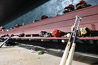 Memphis Redbirds equipment in the dugout during a game against the Oklahoma City RedHawks on May 23, 2014 at AutoZone Park in Memphis, Tennessee.  Oklahoma City defeated Memphis 12-10.  (Mike Janes/Four Seam Images)
