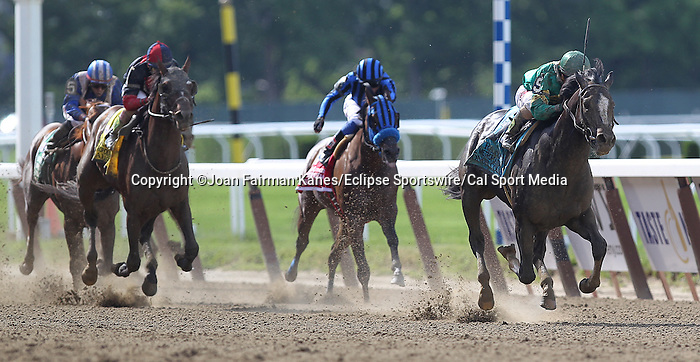 June 6, 2015: Honor Code (right), Javier Castellano up, wins the 122nd running of the Grade I Metropolitan Handicap at Belmont Park, Elmont, NY. Tonalist (2nd from left) finished second; Private Zone (2nd from right) was 3rd. Trainer is Shug McGaughey. This is a 'win and you're in' Breeders' Cup Mile division race. Joan Fairman Kanes/ESW/CSM