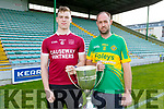 Hurling final captains Muris Delaney (Causeway) and Michael Conway (Lixnaw) with the Neilus Flynn Hurling Championship Cup