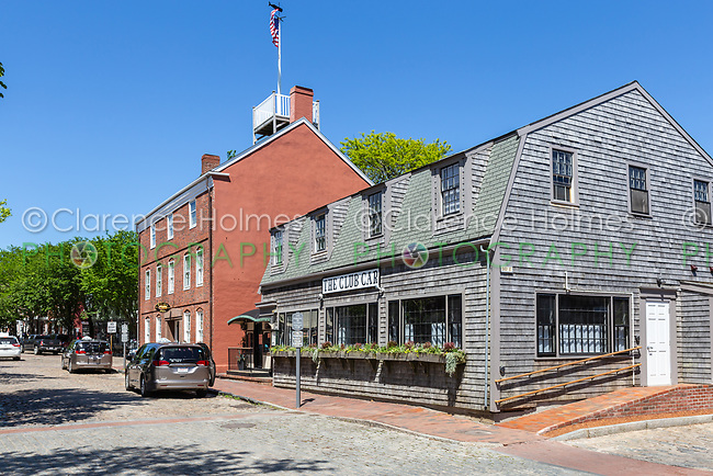 A view of Main Street including The Club Car restaurant in Nantucket, Massachusetts.