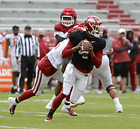Arkansas quarterback Malik Hornsby (4) passes Saturday, April 3, 2021, during a scrimmage at Razorback Stadium in Fayetteville. Visit nwaonline.com/210404Daily/ for today's photo gallery. <br /> (NWA Democrat-Gazette/Andy Shupe)