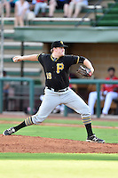 Bristol Pirates starting pitcher Matt Eckelman (19) delivers a pitch during a game against the Elizabethton Twins at Joe O'Brien Field on July 30, 2016 in Elizabethton, Tennessee. The Twins defeated the Pirates 6-3. (Tony Farlow/Four Seam Images)