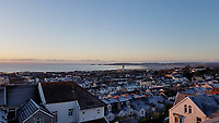 FROSTY WEATHER WALES<br /> Frost on roof tops of houses in Mount Pleasant, overlooking Mumbles, starts thawing during the sunrise. Wednesday 29 November 2017