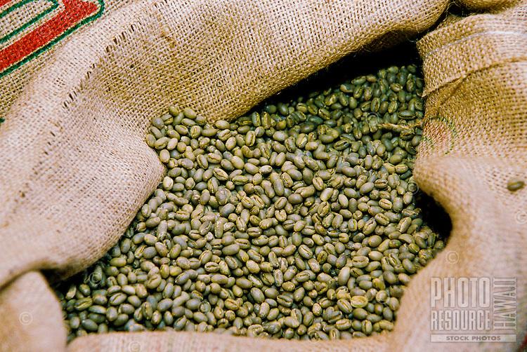 Raw Kona coffee beans ready for roasting