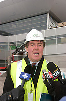 James Cherry, Director , Aeroport de Montreal (ADM) visit the site the construction The new international jetty construction site at MontrÈal-<br /> Pierre Elliott Trudeau International Airport (YUL) in February 2004.<br /> <br /> Contruction de la nouvelle jetÈe de l'aÈroport Pierre E Trudeau (YUL) FÈvrier 2004<br /> photo : (c) images Distribution