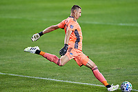 CHICAGO, UNITED STATES - AUGUST 25: Przemyslaw Tyton #22 of FC Cincinnati kicks the ball during a game between FC Cincinnati and Chicago Fire at Soldier Field on August 25, 2020 in Chicago, Illinois.